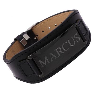 Armband Leder schwarz mit Gravur - 0205