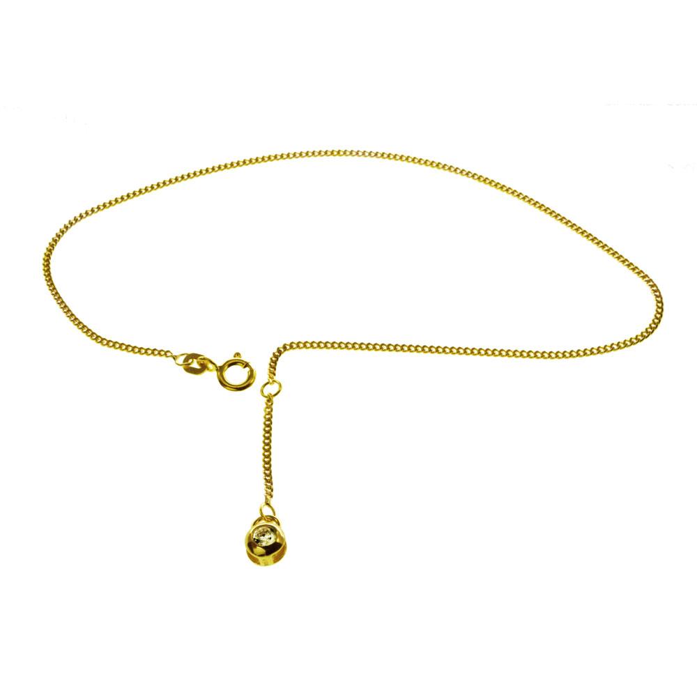Fußkette Gold 333 mit Zirkonia - 1589