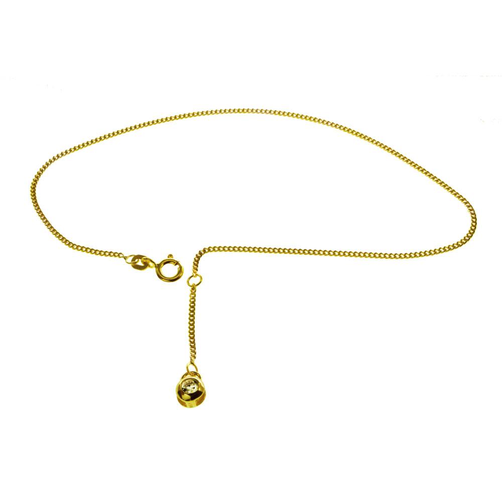 Fußkette Gold 585 mit Zirkonia - 1590