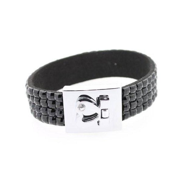 Armband Kristall schwarz mit Gravur - 1279