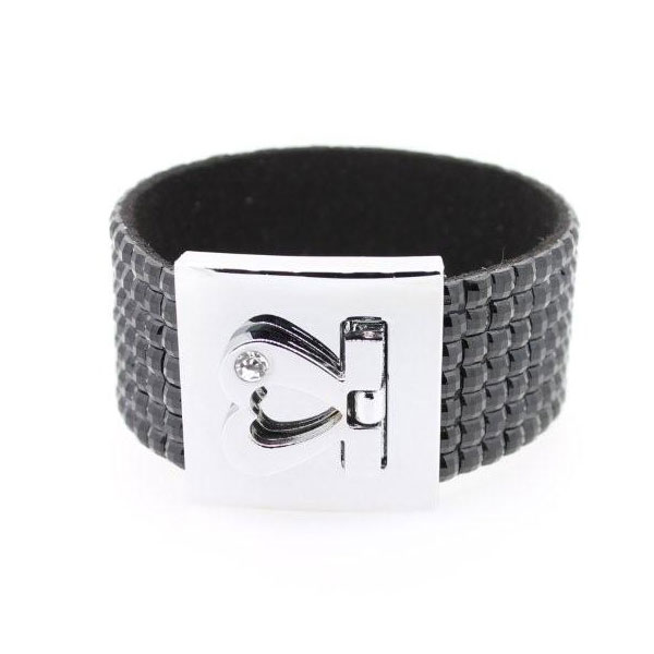 Armband Kristall schwarz mit Gravur - 1278