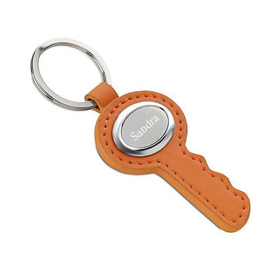 Schlüsselanhänger orange mit Gravur 0842