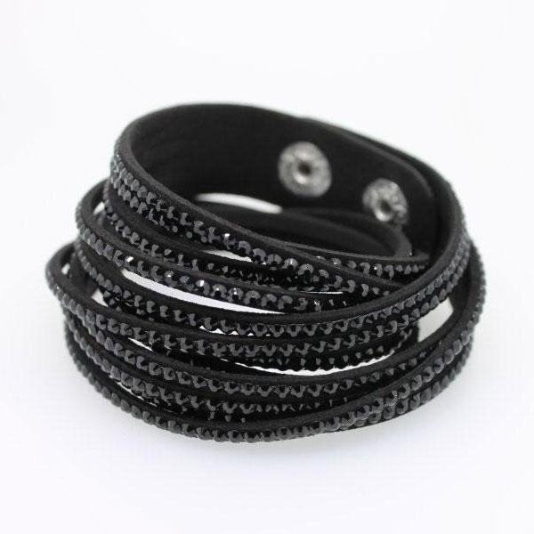 Wickelarmband Kristall schwarz - 1275