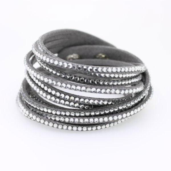 Wickelarmband Kristall grau - 1276