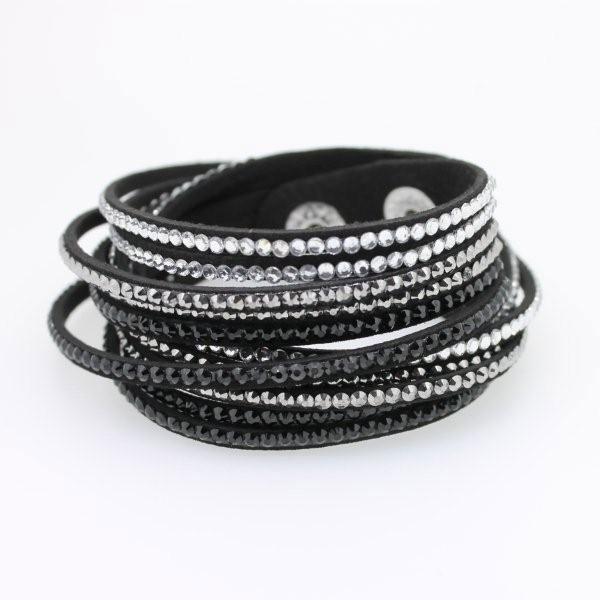 Wickelarmband Kristall schwarz - 1274